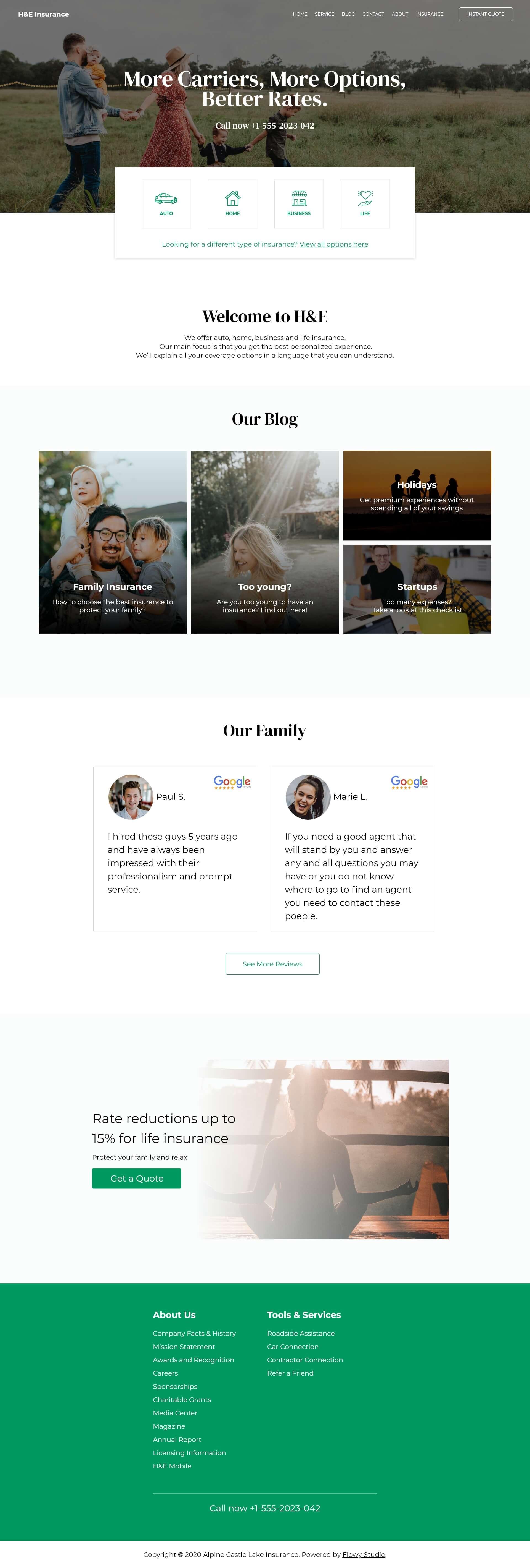 Flowy Web Design for H&E Insurance