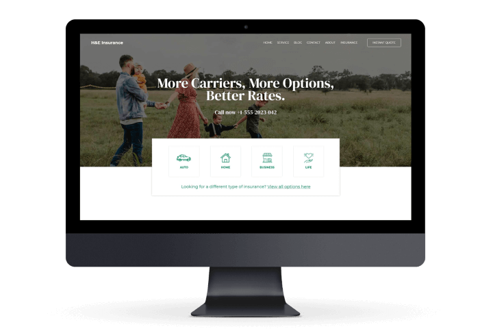 Flowy Studio - Web Design and SEO project for H&E Insurance