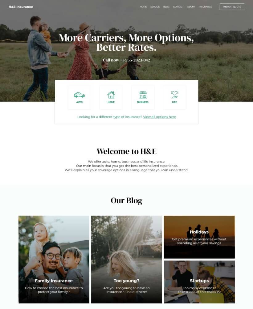 Preview image for web design and SEO project for H&E Insurance