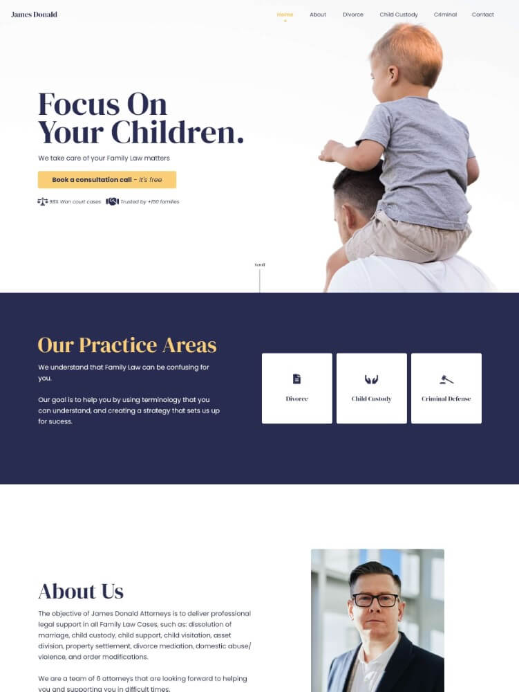 Preview image for web design and SEO project for James Donald