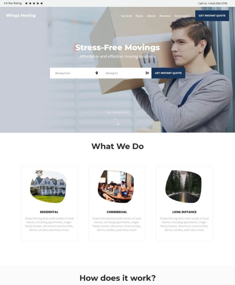Preview image for web design and SEO project for Moving Wings