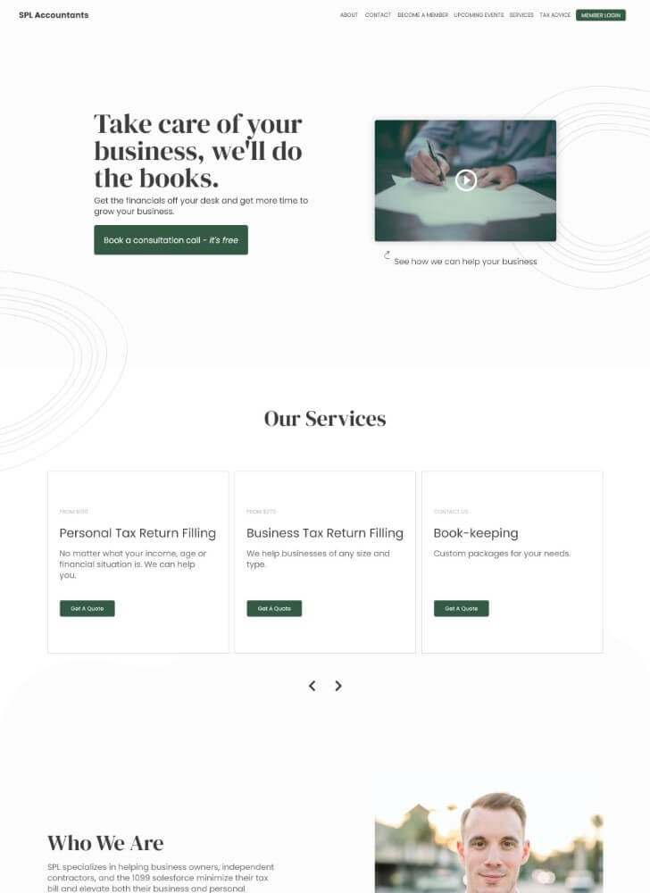 Preview image for web design and SEO project for SLP Accountants