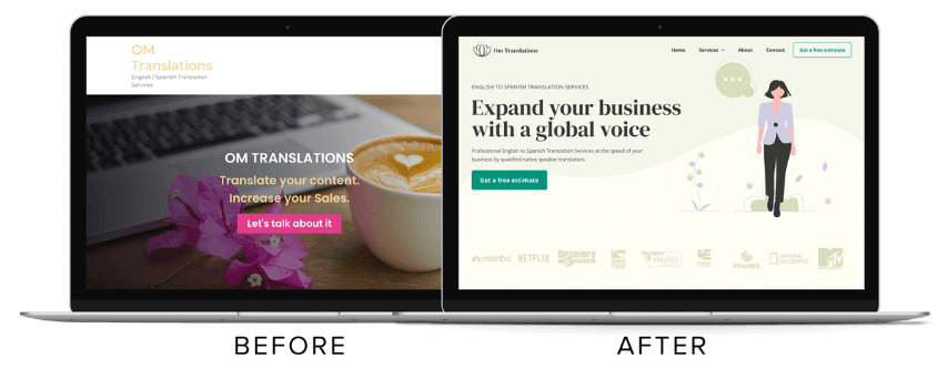 Flowy Studio - Web Design and SEO project for OM Translations