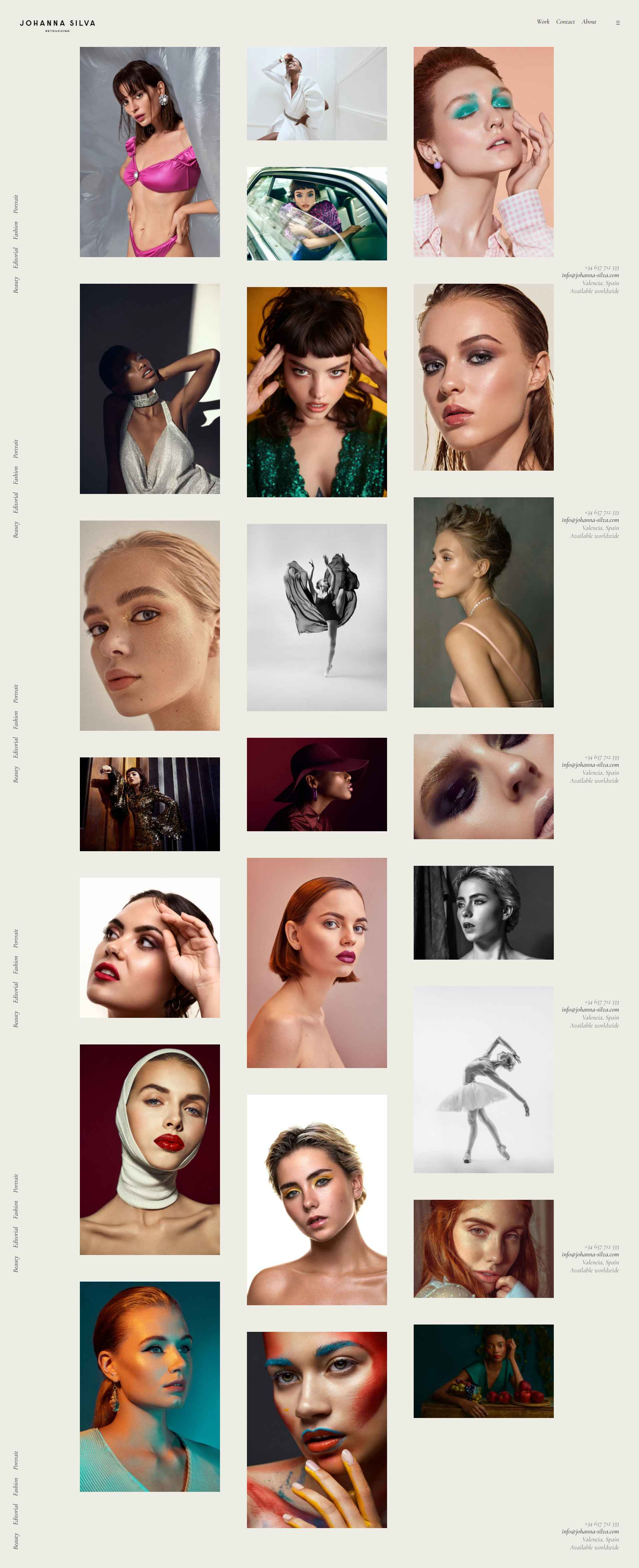 Flowy Web Design for Johanna Silva Retouching