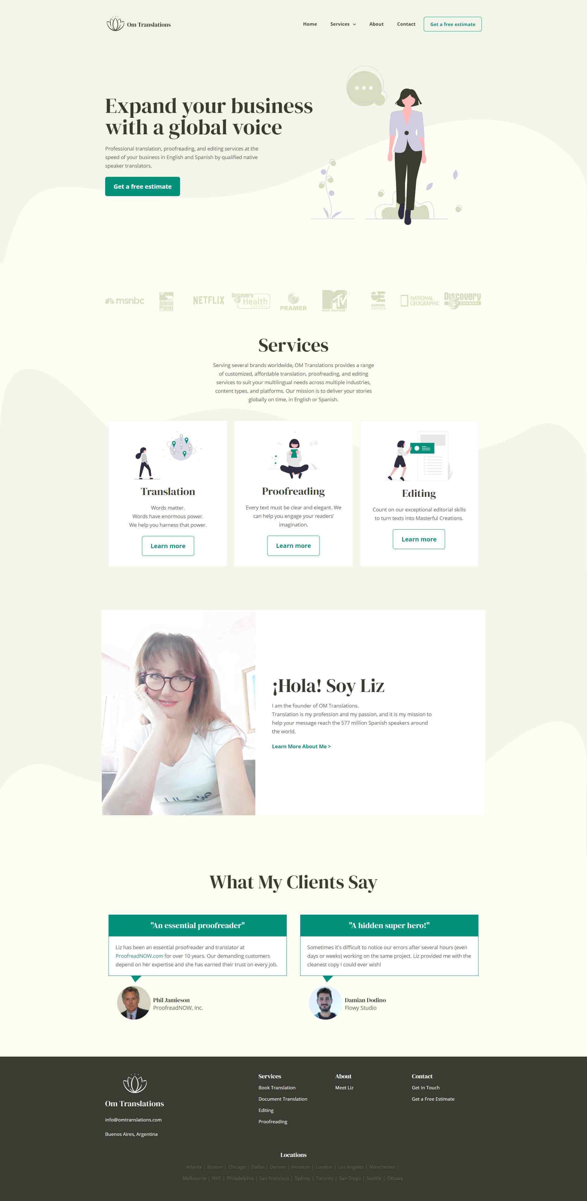 Web design for OM Translations by Flowy Studio