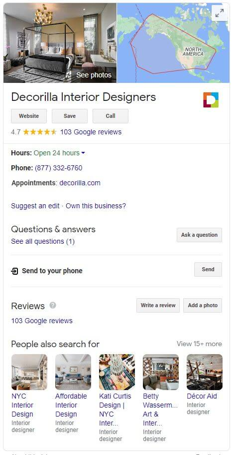 Example of SEO for Interior Designers that shows how a Google My Business Listing looks like