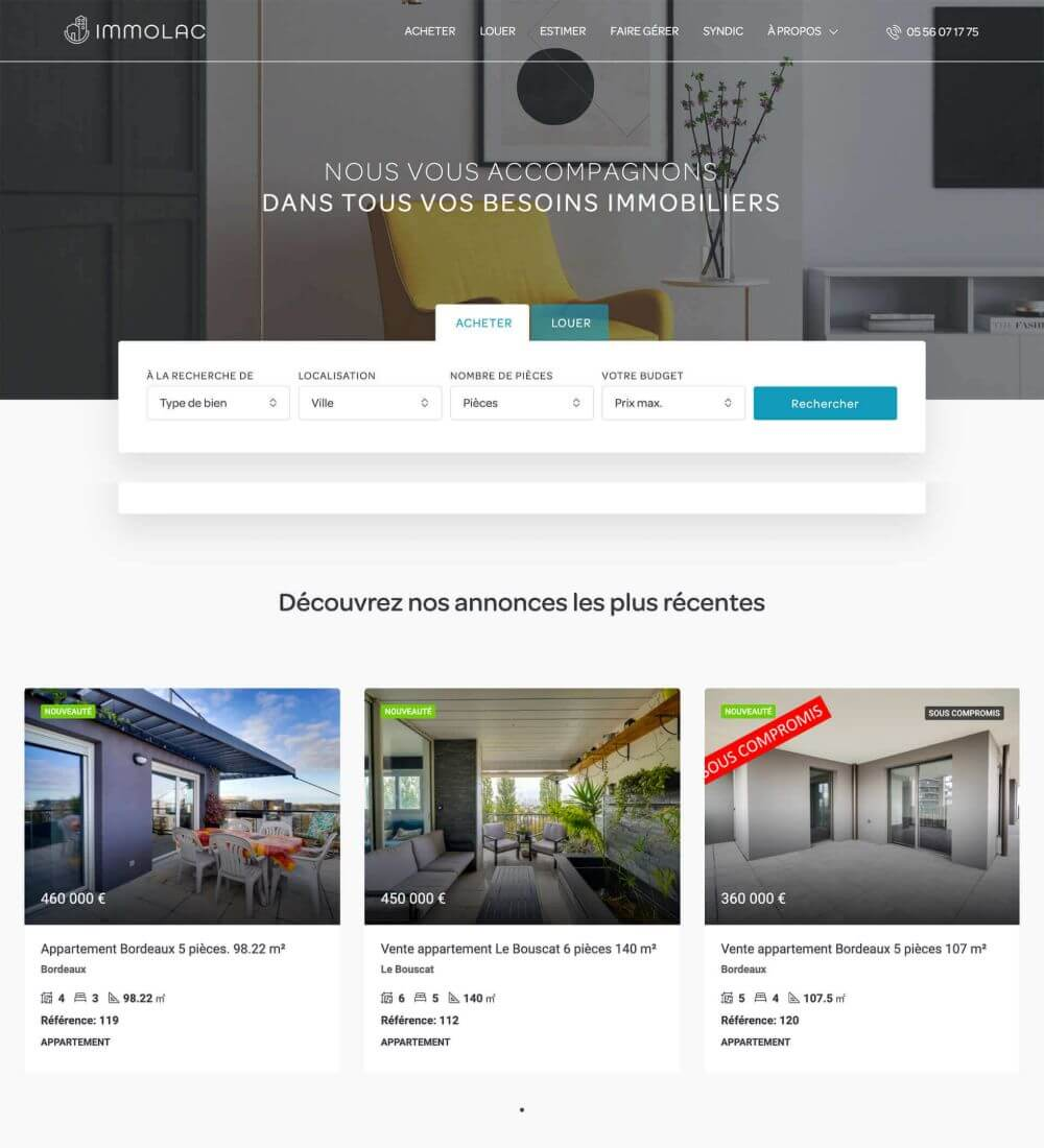 Preview image for web design and SEO project for Immolac Bordeaux