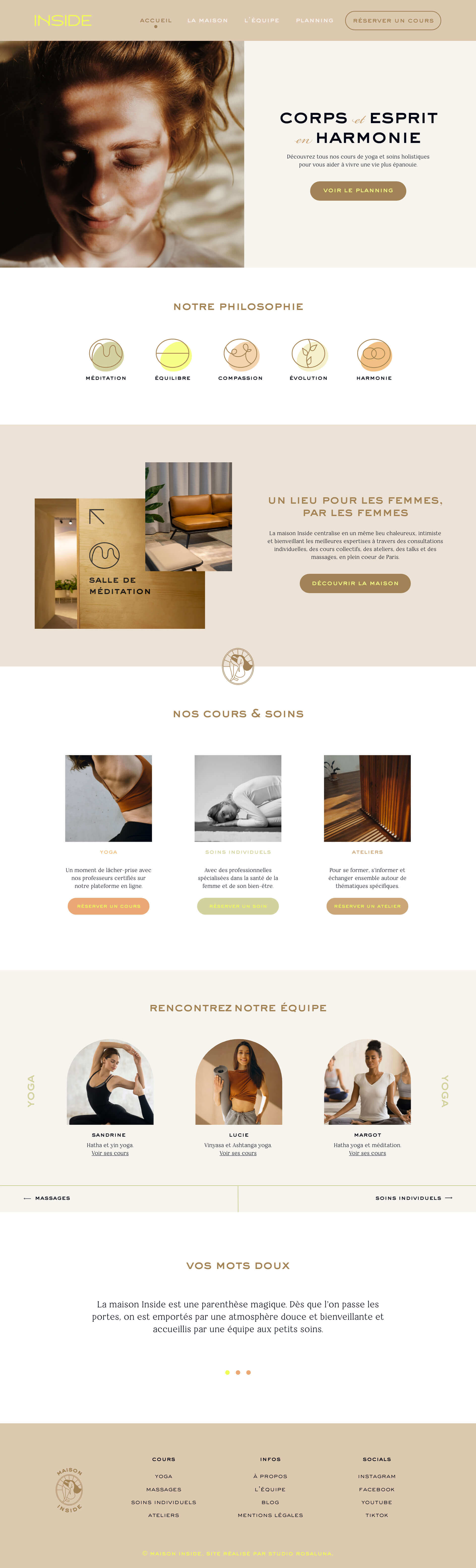 Preview image for web design and SEO project for Inside Yoga Studio