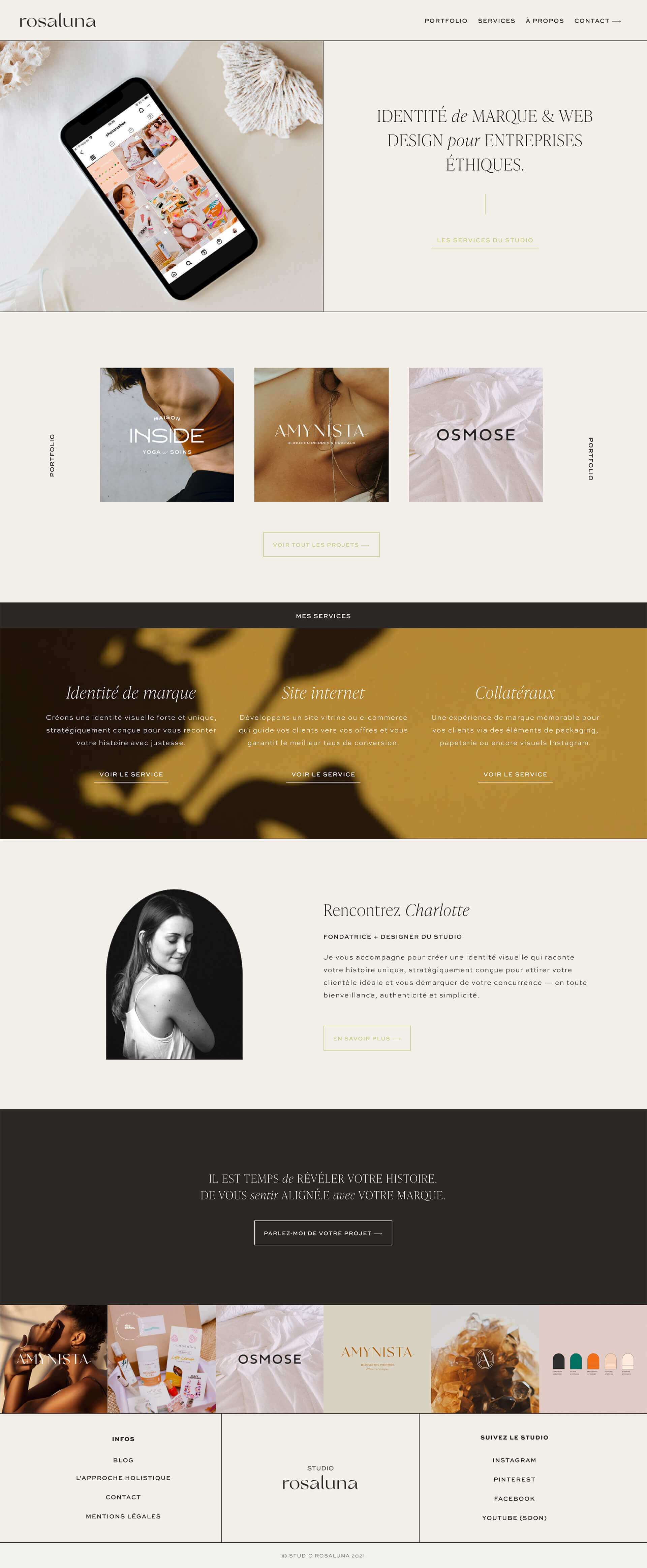 Preview image for web design and SEO project for Studio Rosaluna