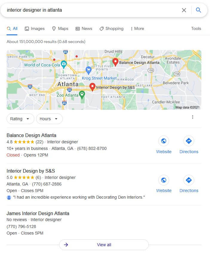Example of SEO for Interior Designers that shows how a Google Map Pack SERP looks like