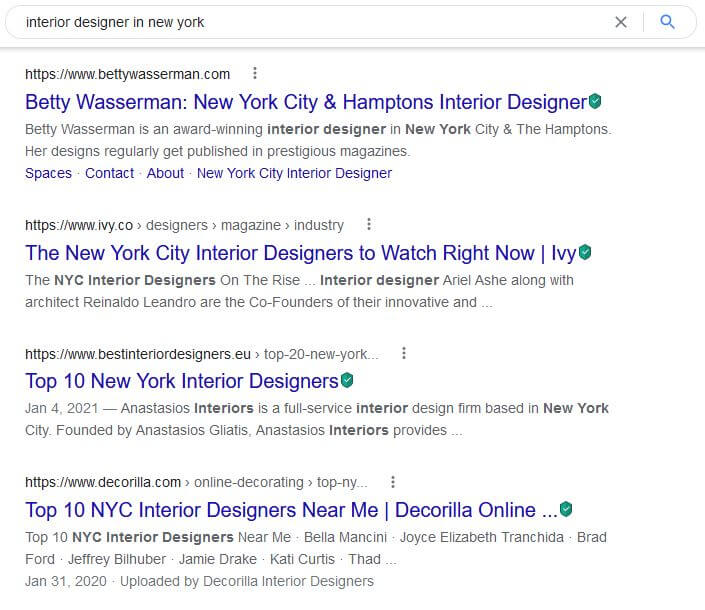 Example that shows how a Google search looks like when searching for Interior Design in New York