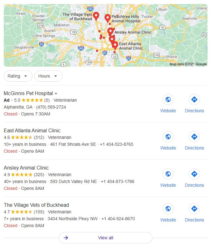 Example of Google Map Pack