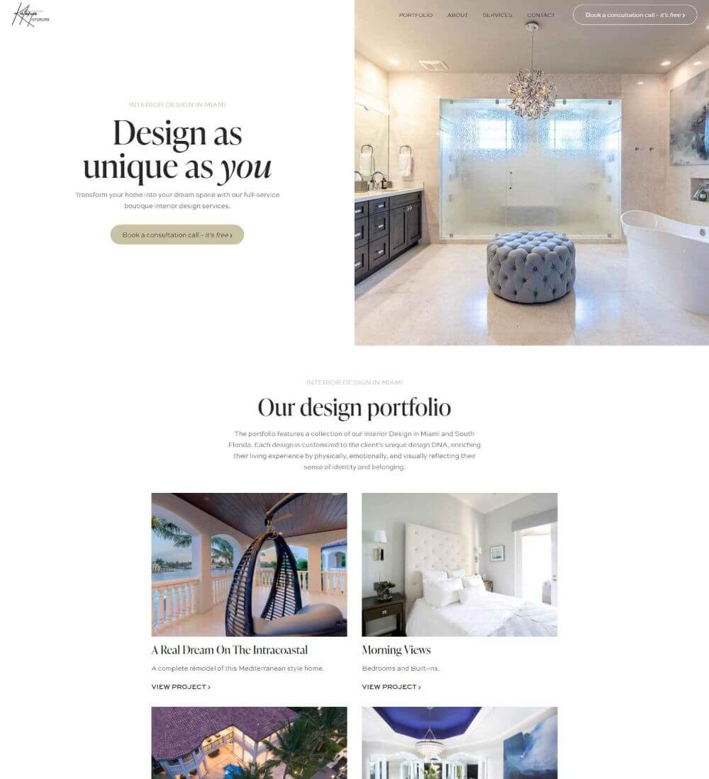Listing picture for Kathryn Interiors, web design and SEO client of Flowy Studio